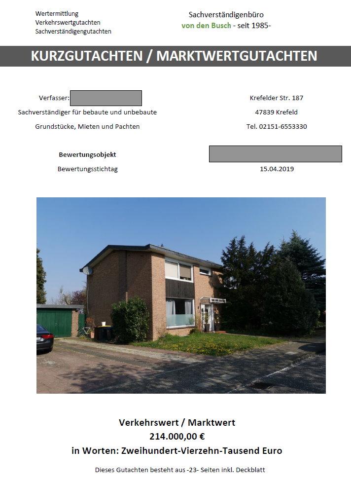 Kurzgutachten Immobilie / Marktwertgutachten Immobilie